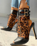 Leopard Print Peep Toe Buckled Thin Heeled Boot