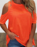 Weststylish Criss-Cross Cold Shoulder Casual T-shirt