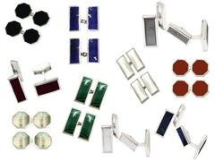 New Silver Cufflinks with Semi-Precious Stones