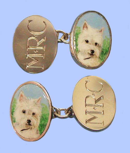 Pair of Gold Cufflinks Hand- Enamelled with a Dog - the Other Two Faces Hand- Engraved with Initials