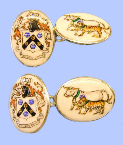 Pair of Silver Cufflinks Hand-Enamelled with a Coat of Arms and Crest