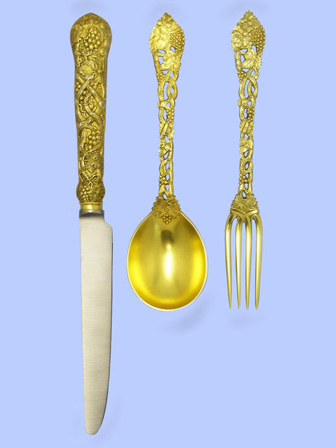 New Hand-Forged Silver-Gilt Flatware - Chased and Pierced Vine Pattern