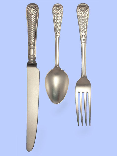 New Hand-Forged Silver Flatware - Quilted Shell Pattern