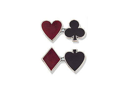Silver Enamel Heart, Diamond, Spade & Club Cufflinks