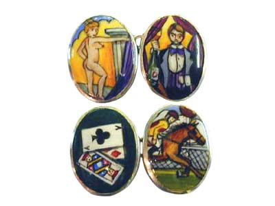 'The Four Vices ' - Art Deco Version New Silver Cufflinks