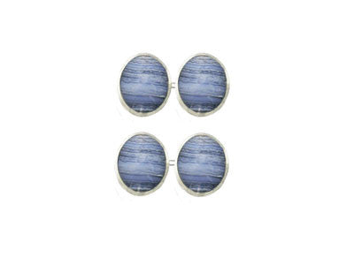 Pair of Oval Silver Blue Lace Agate Chain Cufflinks