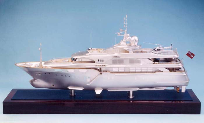 Silver Model of the Superyacht 'Ambrosia II'
