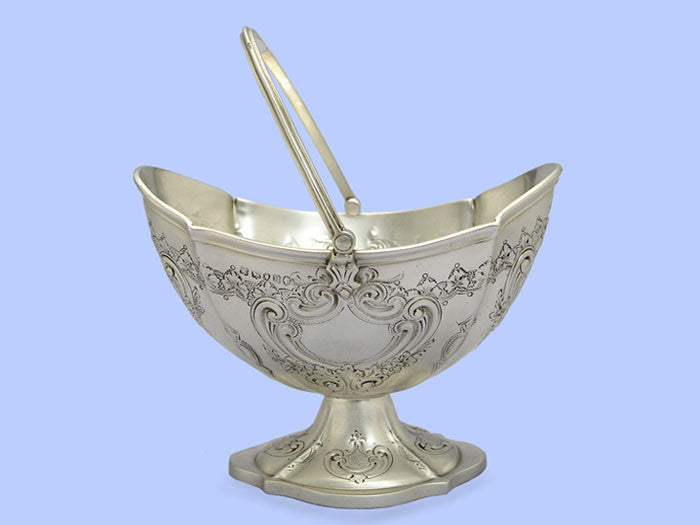 Victorian Embossed Silver Sugar Basket