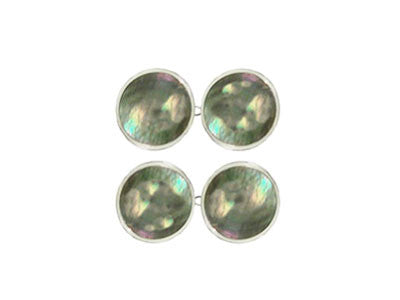 Pair of Round Silver Black Lip Pearl Chain Cufflinks