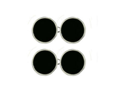 Pair of Round Silver Onyx Chain Cufflinks