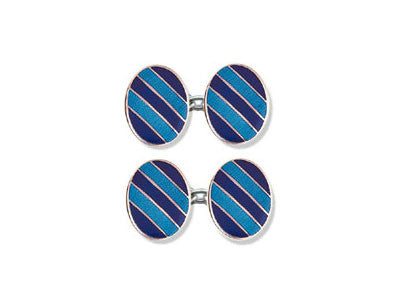 Silver Light & Dark Blue Striped Enamel Cufflinks