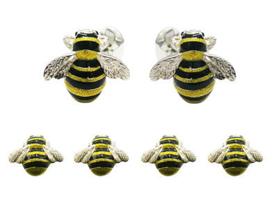Silver and Enamel 'Bumble Bee' Tuxedo Set