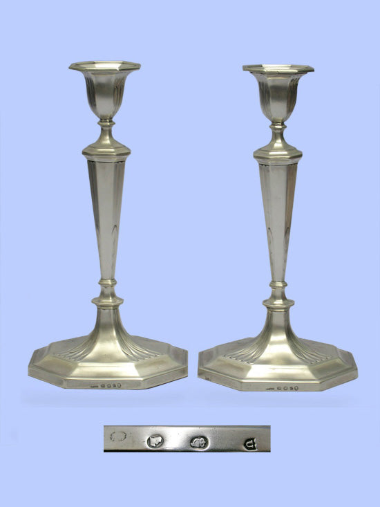 Pair of George III Cut-Corner Silver Candlesticks