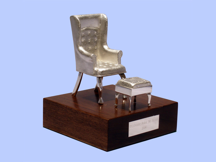 Silver Model of an Armchair and Stool