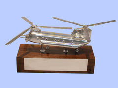 Silver Model of the Boeing Chinook Mk6 Helicopter