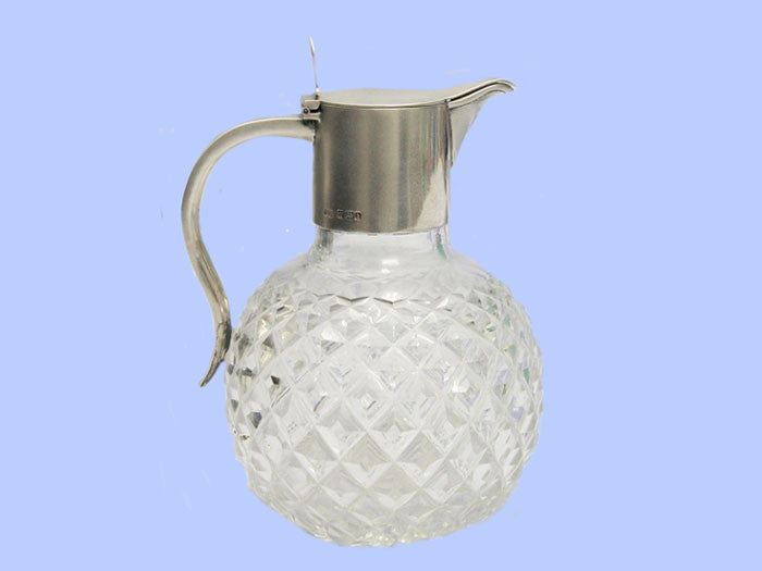 Edwardian Silver and Crystal Claret Jug 1902