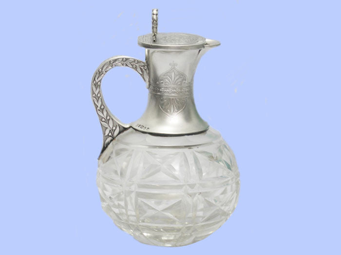 Victorian Silver and Crystal Claret Jug 1874