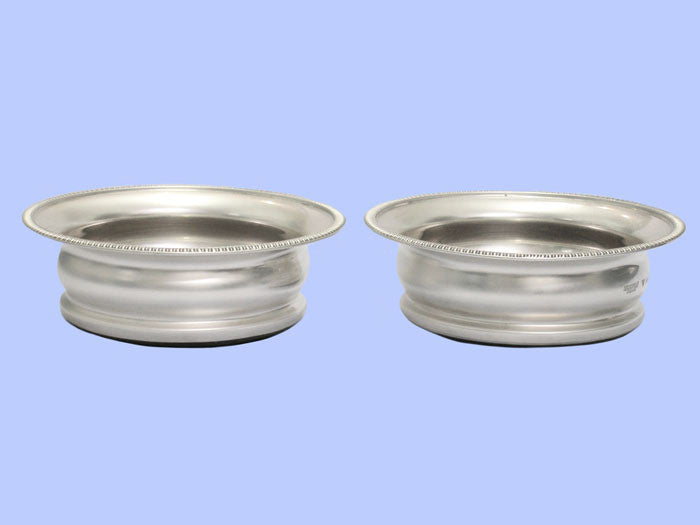 Pair of Tall Silver Wine Coasters
