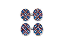 Silver Blue Enamel Cufflinks with Red Lattice