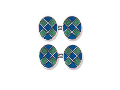 Silver Green & Blue Diamond Enamel Cufflinks