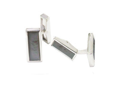 Pair of Oblong Silver Black Lip Pearl Swivel Cufflinks