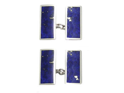 Pair of Oblong Silver Lapis Lazuli Chain Cufflinks