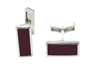 Pair of Oblong Silver Swivel Red Cornelian Cufflinks with Inlaid Backs