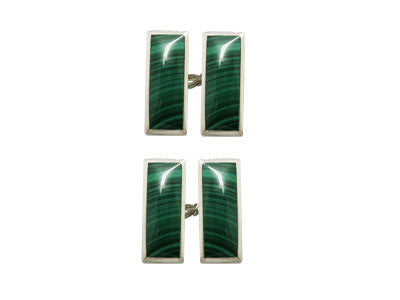 Pair of Oblong Silver Malachite Chain Cufflinks