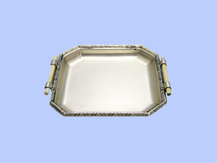 Small Cut-Corner Silver Dish with Ivory Handles