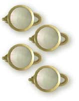 18K Gold Shirt Studs - Round with Mother of Pearl