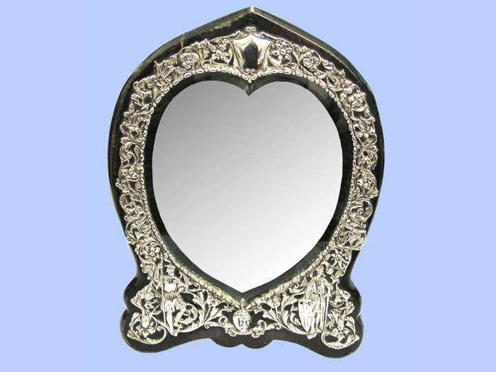 Victorian Heart-Shaped Silver Mirror