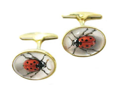'Ladybirds' <br> New Handmade Gold & Rock Crystal Cufflinks