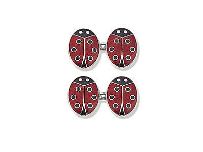 Silver Cufflinks Enamelled with Ladybirds
