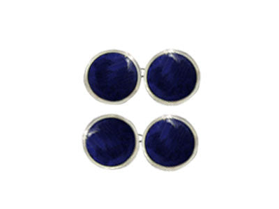 Pair of Round Silver Lapis Lazuli Chain Cufflinks