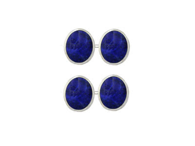 Pair of Oval Silver Lapis Lazuli Chain Cufflinks