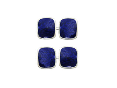 Pair of Wide Oblong Silver Lapis Lazuli Chain Cufflinks