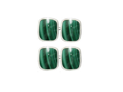Pair of Wide Oblong Silver Malachite Chain Cufflinks