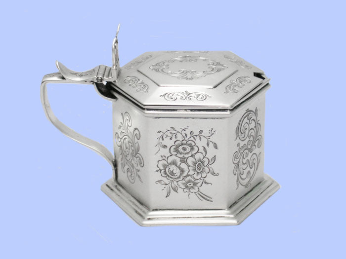 Victorian Six-Sided Silver Mustard Pot