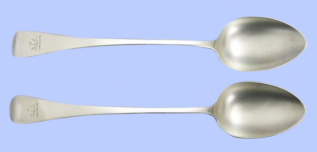 Pair of George III Old English Pattern Silver Long Serving Spoons