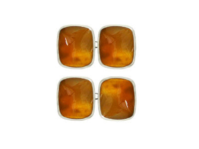 Pair of Wide Oblong Silver Orange Cornelian Chain Cufflinks