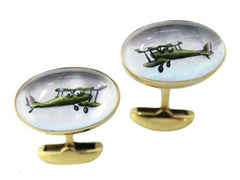 'Bi-Planes' <br> New Handmade Gold & Rock Crystal Cufflinks