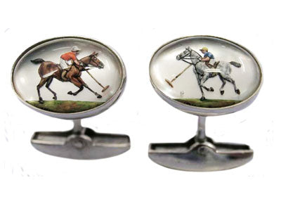 'Polo Players on Horses' <br> New Handmade Gold & Rock Crystal Cufflinks