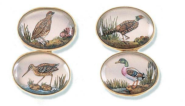 'Game Birds' New Gold Rock Crystal Cufflinks