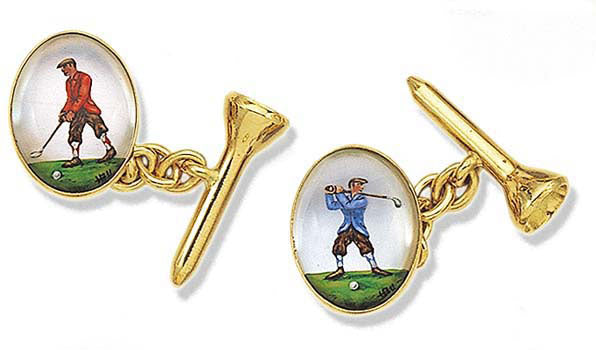 'Male Golfers & Tees' New Gold Rock Crystal Cufflinks
