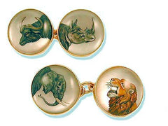 'Big Game Animals' <br>New Handmade Gold & Rock Crystal Cufflinks