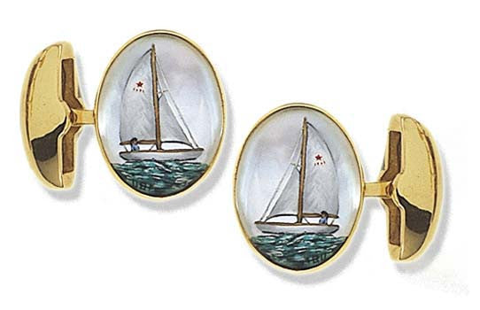 'Sailing Yachts' <br>New Handmade Gold & Rock Crystal Cufflinks