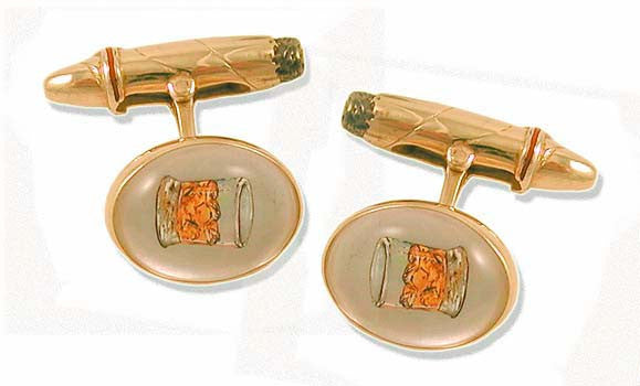 'Scotch & Cigar ' <br> New Handmade Gold & Rock Crystal Cufflinks