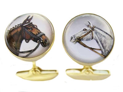 'Horses' Heads' <br>New Gold Rock Crystal Cufflinks