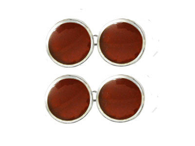 Pair of Round Silver Red Cornelian Chain Cufflinks