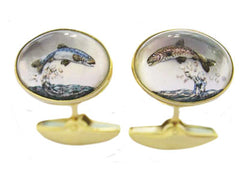 'Leaping Salmon & Trout' <br> New Handmade Gold & Rock Crystal Cufflinks
